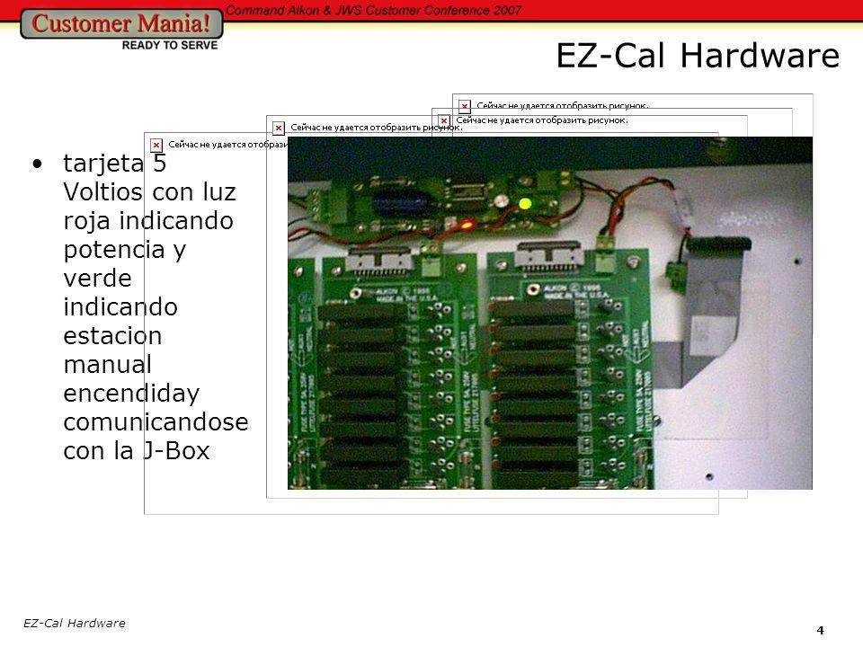 4 tarjeta 5 Voltios con luz roja indicando potencia y verde indicando estacion manual encendiday comunicandose con la J-Box