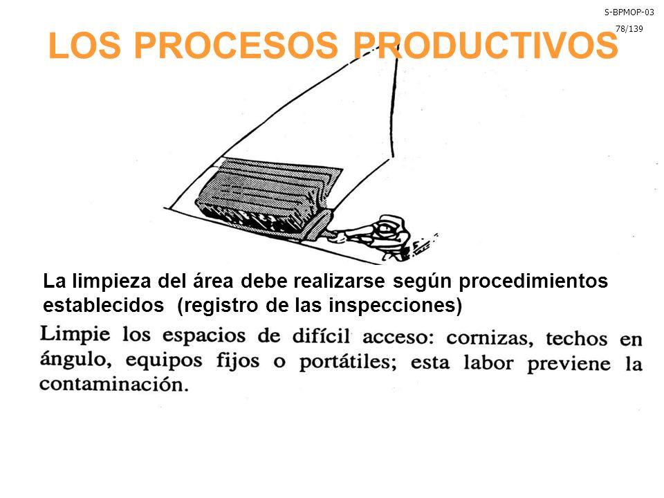 LOS PROCESOS PRODUCTIVOS La limpieza del área debe realizarse según procedimientos establecidos (registro de las inspecciones) S-BPMOP-03 78/139