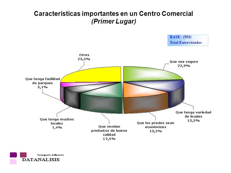 Características importantes en un Centro Comercial (Primer Lugar) BASE: (503) Total Entrevistados