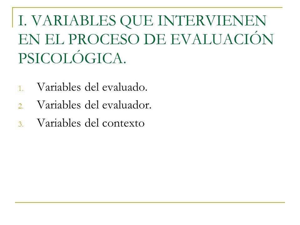 I. VARIABLES QUE INTERVIENEN EN EL PROCESO DE EVALUACIÓN PSICOLÓGICA. 1. Variables del evaluado. 2. Variables del evaluador. 3. Variables del contexto