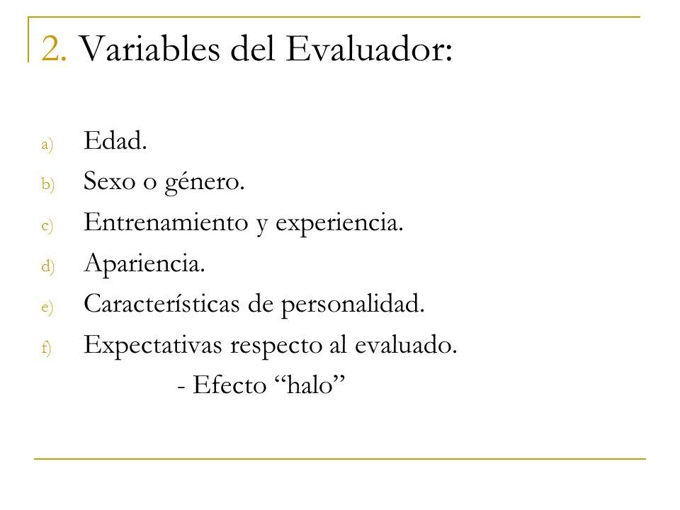2. Variables del Evaluador: a) Edad. b) Sexo o género. c) Entrenamiento y experiencia. d) Apariencia. e) Características de personalidad. f) Expectati