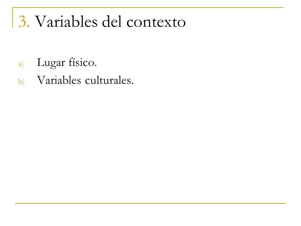 3. Variables del contexto a) Lugar físico. b) Variables culturales.