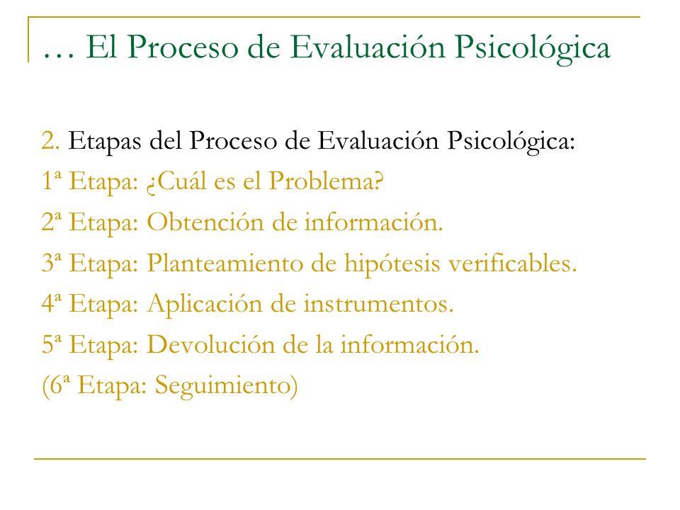 … El Proceso de Evaluación Psicológica 2. Etapas del Proceso de Evaluación Psicológica: 1ª Etapa: ¿Cuál es el Problema? 2ª Etapa: Obtención de informa