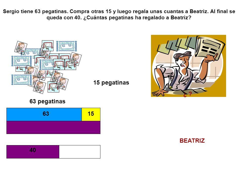 Sergio tiene 63 pegatinas.Compra otras 15 y luego regala unas cuantas a Beatriz.
