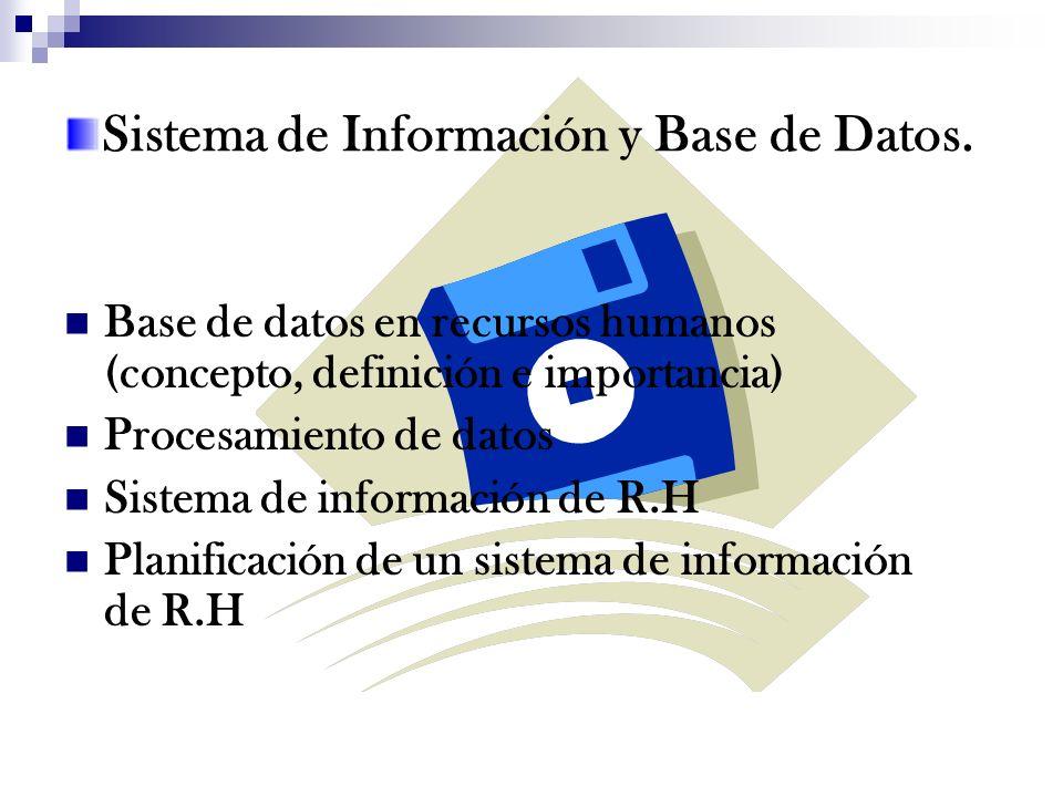 Sistema de Información y Base de Datos. Base de datos en recursos humanos (concepto, definición e importancia) Procesamiento de datos Sistema de infor