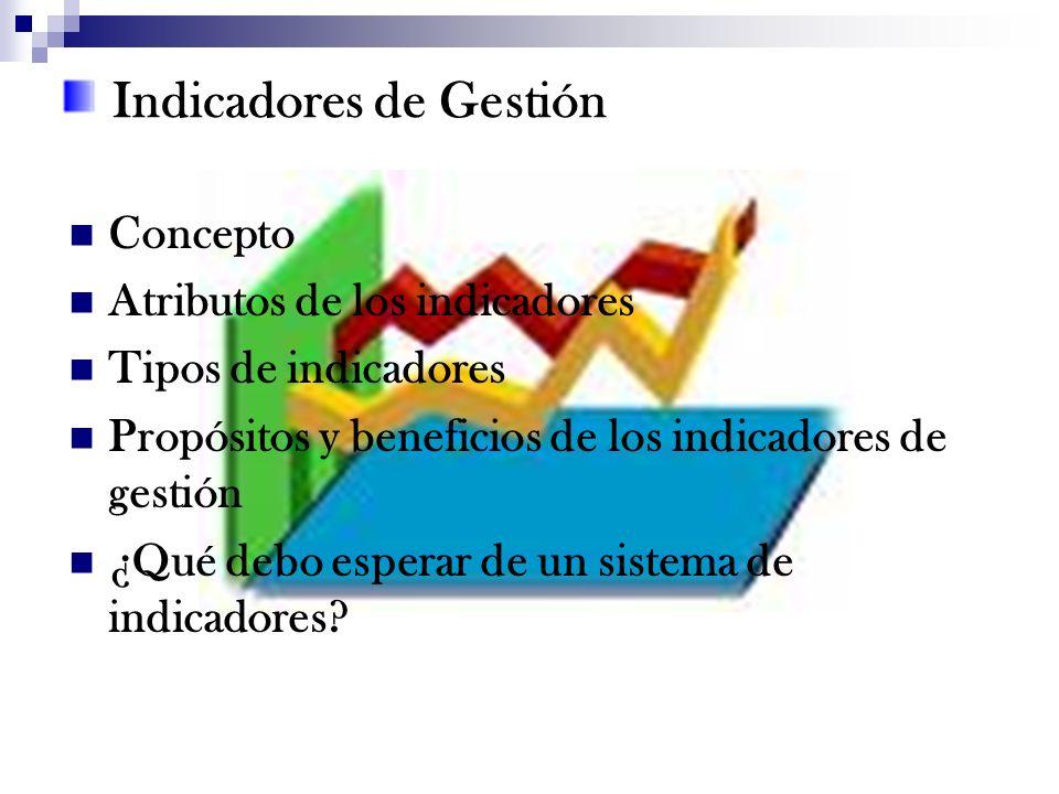 Indicadores de Gestión Concepto Atributos de los indicadores Tipos de indicadores Propósitos y beneficios de los indicadores de gestión ¿Qué debo espe