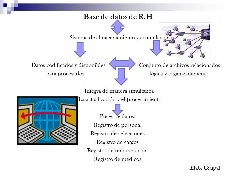 Base de datos de R.H Sistema de almacenamiento y acumulación Datos codificados y disponibles Conjunto de archivos relacionados para procesarlos lógica