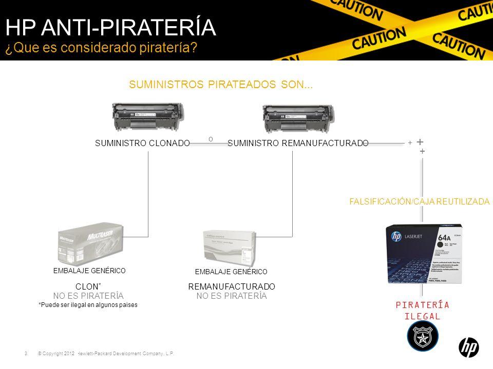 © Copyright 2011 Hewlett-Packard Development Company, L.P. 3 ¿Que es considerado piratería? HP ANTI-PIRATERÍA *Puede ser ilegal en algunos paises SUMI