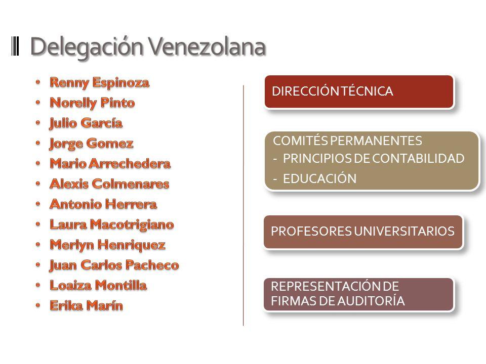 Delegación Venezolana DIRECCIÓN TÉCNICA COMITÉS PERMANENTES - PRINCIPIOS DE CONTABILIDAD - EDUCACIÓN PROFESORES UNIVERSITARIOS REPRESENTACIÓN DE FIRMA