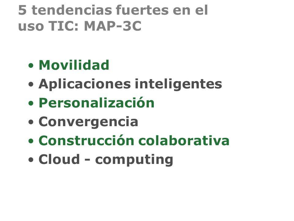 5 tendencias fuertes en el uso TIC: MAP-3C Movilidad Aplicaciones inteligentes Personalización Convergencia Construcción colaborativa Cloud - computin