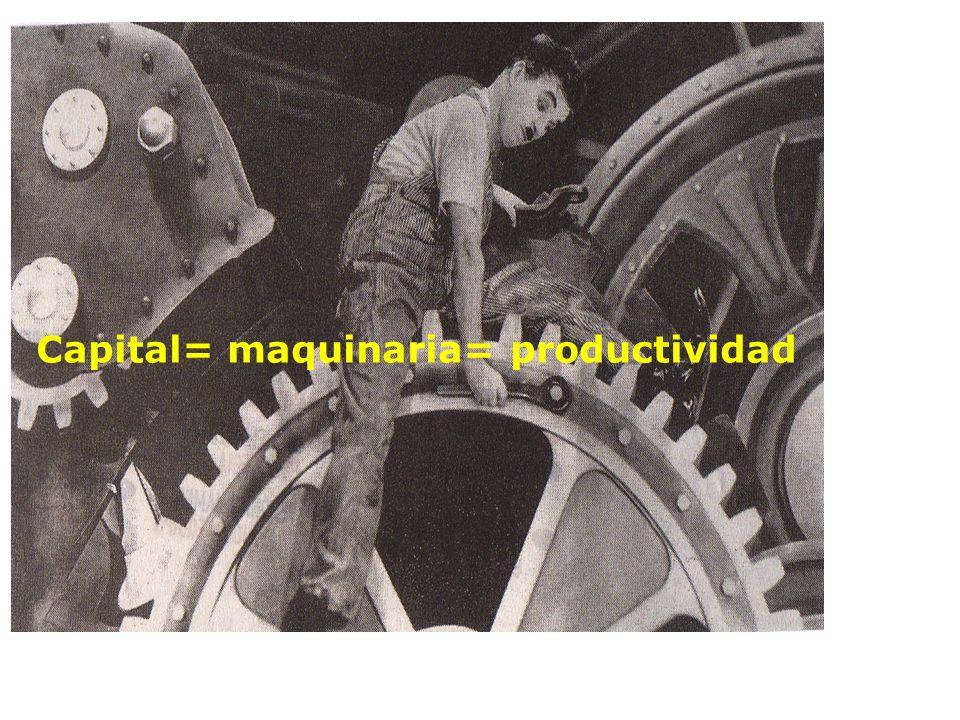 Capital= maquinaria= productividad