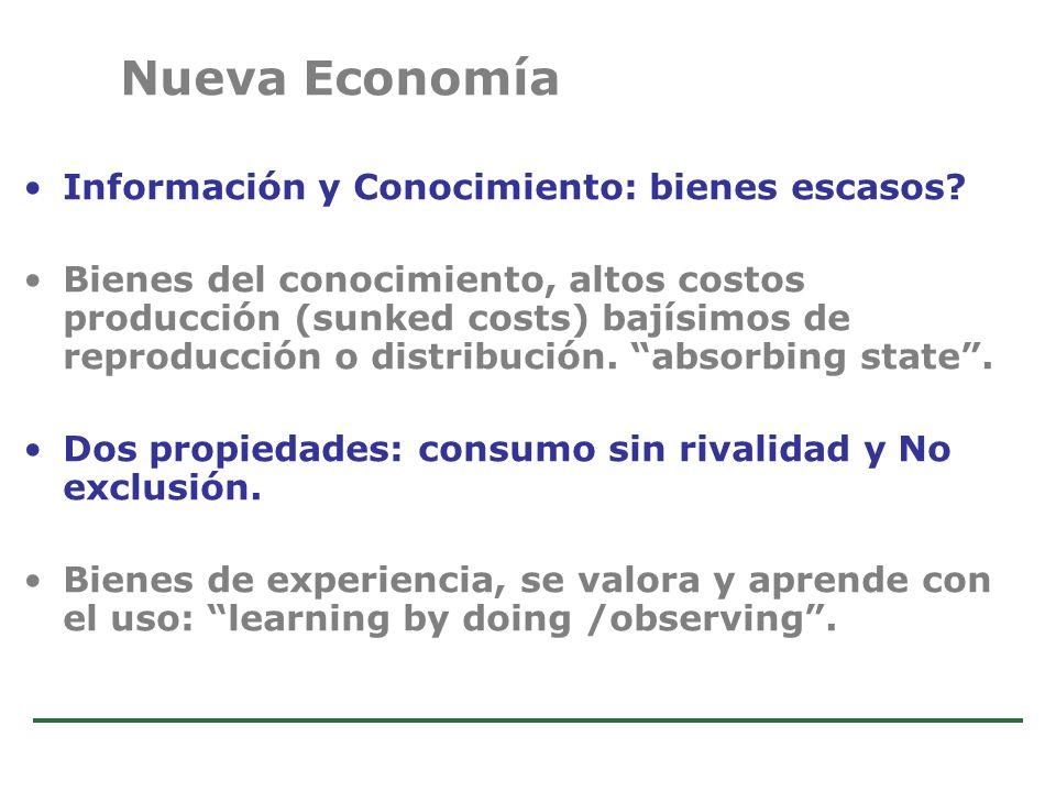 Estudio de Comercio Electrónico en la Argentina Información y Conocimiento: bienes escasos? Bienes del conocimiento, altos costos producción (sunked c
