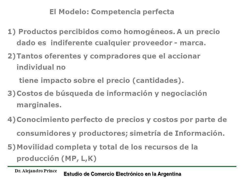 Estudio de Comercio Electrónico en la Argentina Dr. Alejandro Prince 1) Productos percibidos como homogéneos. A un precio dado es indiferente cualquie