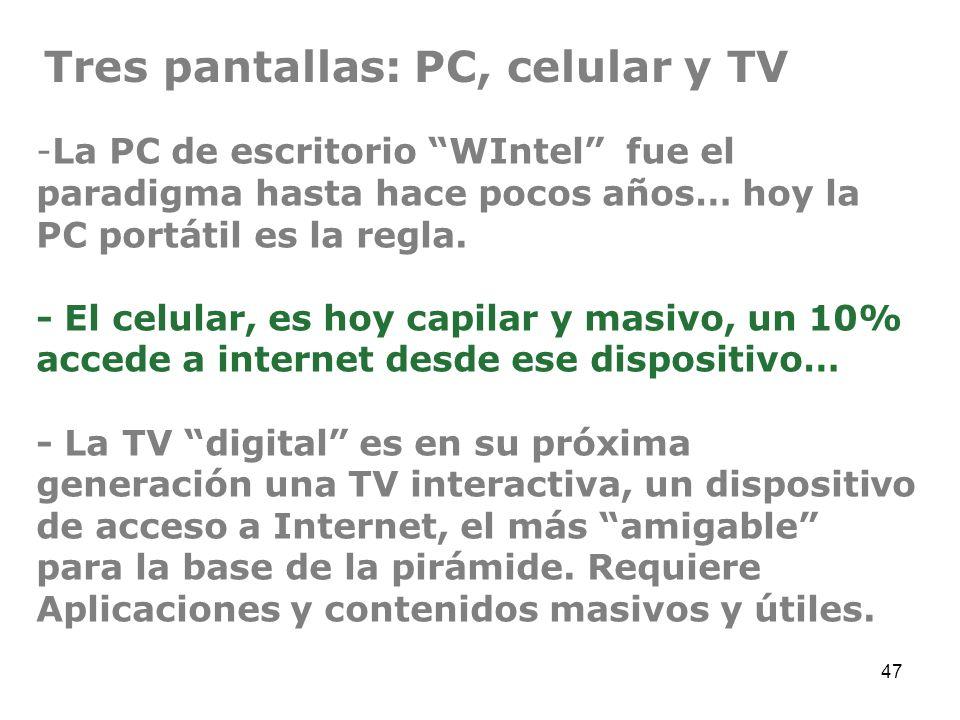 47 -La PC de escritorio WIntel fue el paradigma hasta hace pocos años… hoy la PC portátil es la regla. - El celular, es hoy capilar y masivo, un 10% a