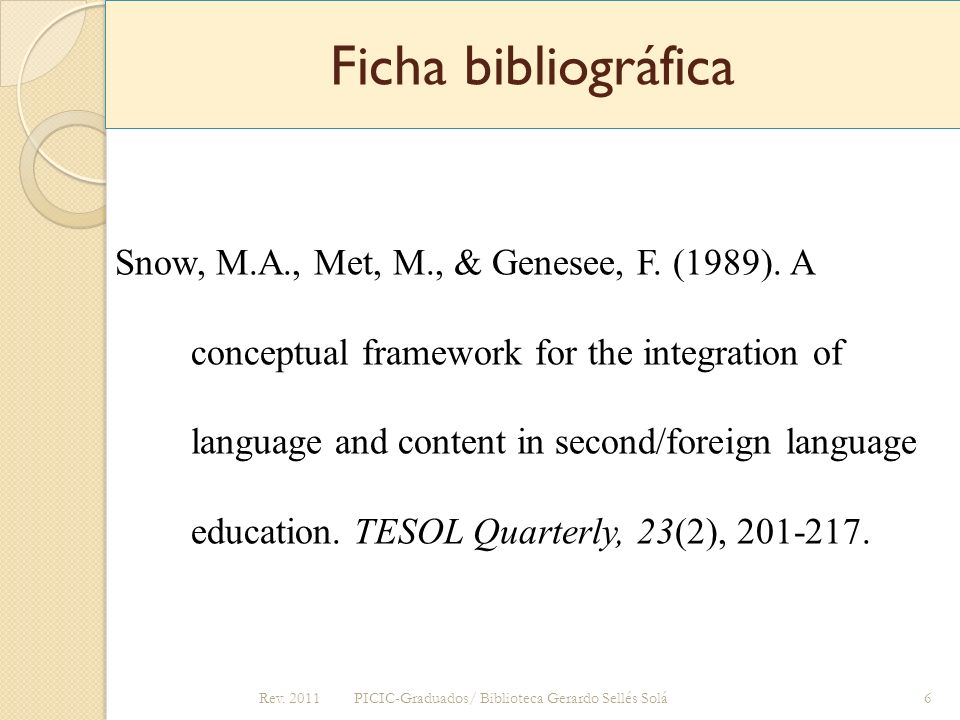Ficha bibliográfica Snow, M.A., Met, M., & Genesee, F. (1989). A conceptual framework for the integration of language and content in second/foreign la