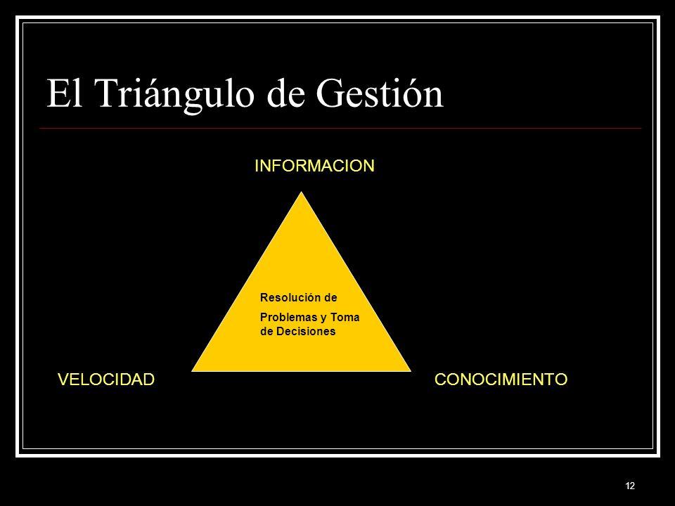 12 El Triángulo de Gestión INFORMACION CONOCIMIENTOVELOCIDAD Resolución de Problemas y Toma de Decisiones