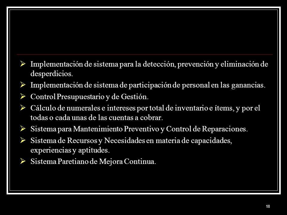 18 Implementación de sistema para la detección, prevención y eliminación de desperdicios. Implementación de sistema de participación de personal en la