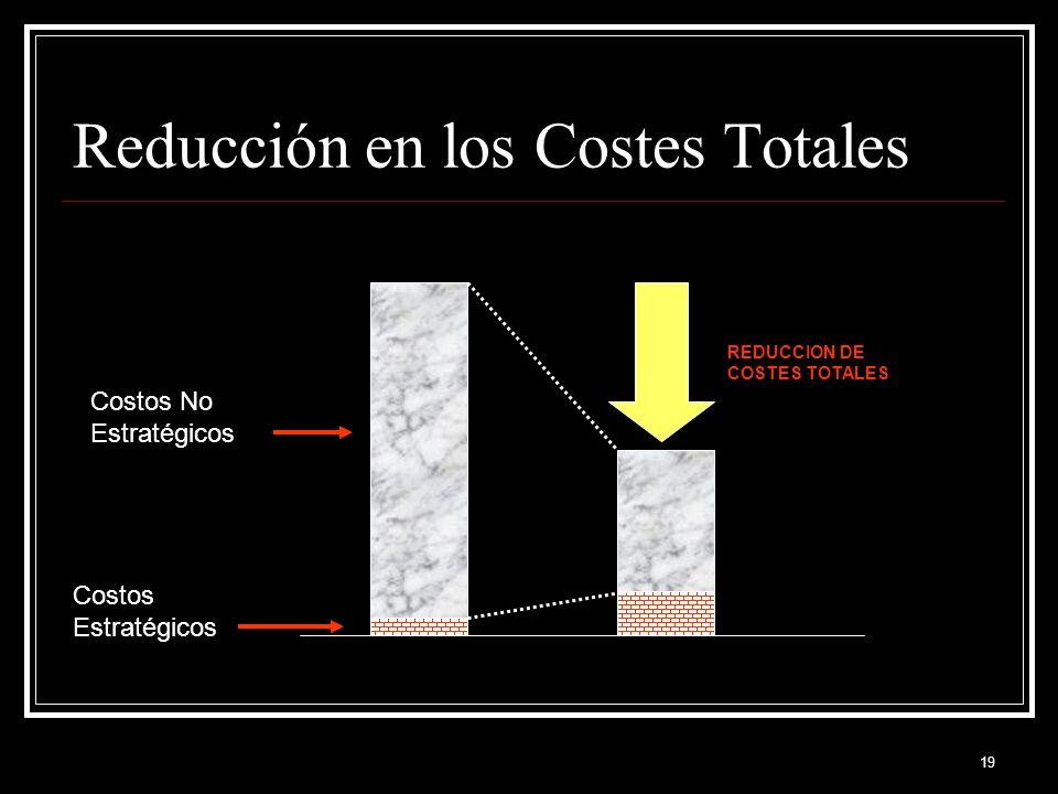 19 Reducción en los Costes Totales Costos Estratégicos Costos No Estratégicos REDUCCION DE COSTES TOTALES