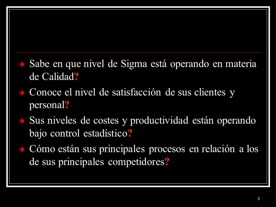 3 Sabe en que nivel de Sigma está operando en materia de Calidad? Conoce el nivel de satisfacción de sus clientes y personal? Sus niveles de costes y