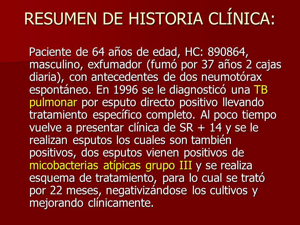 RESUMEN DE HISTORIA CLÍNICA: Paciente de 64 años de edad, HC: 890864, masculino, exfumador (fumó por 37 años 2 cajas diaria), con antecedentes de dos neumotórax espontáneo.