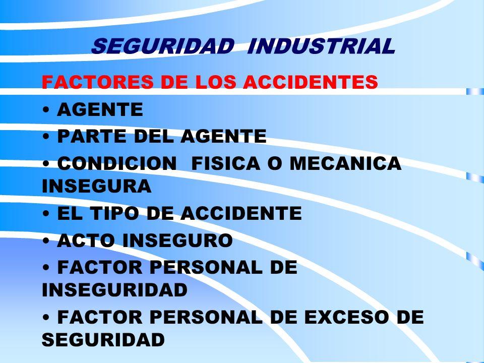 SEGURIDAD INDUSTRIAL FACTORES DE LOS ACCIDENTES AGENTE PARTE DEL AGENTE CONDICION FISICA O MECANICA INSEGURA EL TIPO DE ACCIDENTE ACTO INSEGURO FACTOR