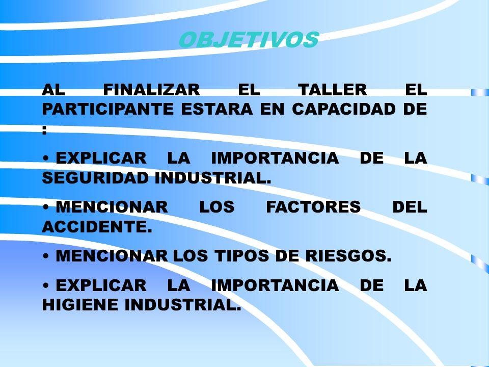 SEGURIDAD INDUSTRIAL ORGANO DE SEGURIDAD DE LA EMPRESA ES EL ENTE DE LA EMPRESA, PROPIO O CONTRATADO ENCARGADO DE ESTABLECER Y HACER CUMPLIR LA POLITICA, LOS OBJETIVOS, PROYECTOS Y ESTRATEGIAS GENERALES DE HIGIENE Y SEGURIDAD INDUSTRIAL.