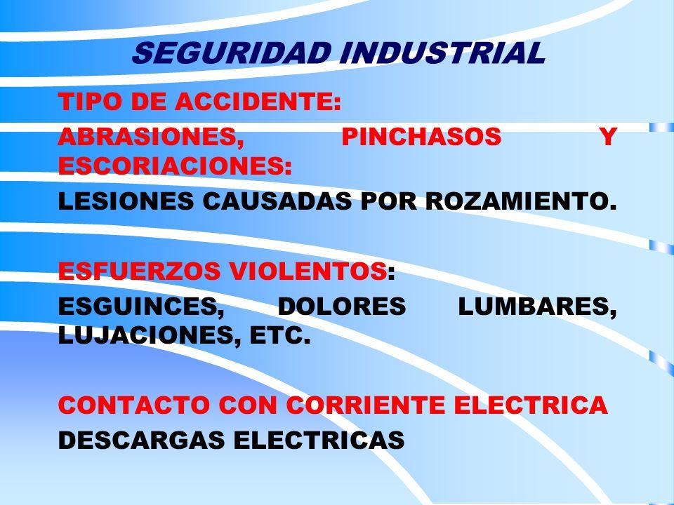 SEGURIDAD INDUSTRIAL TIPO DE ACCIDENTE: ABRASIONES, PINCHASOS Y ESCORIACIONES: LESIONES CAUSADAS POR ROZAMIENTO. ESFUERZOS VIOLENTOS: ESGUINCES, DOLOR