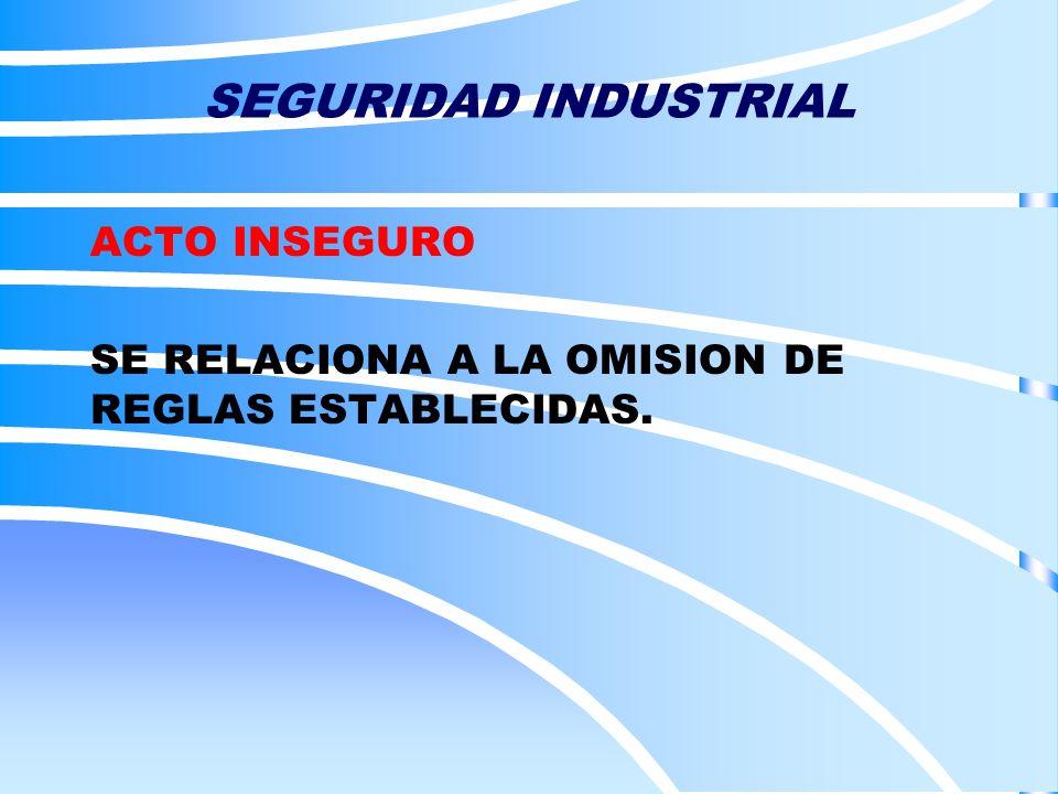 SEGURIDAD INDUSTRIAL ACTO INSEGURO SE RELACIONA A LA OMISION DE REGLAS ESTABLECIDAS.