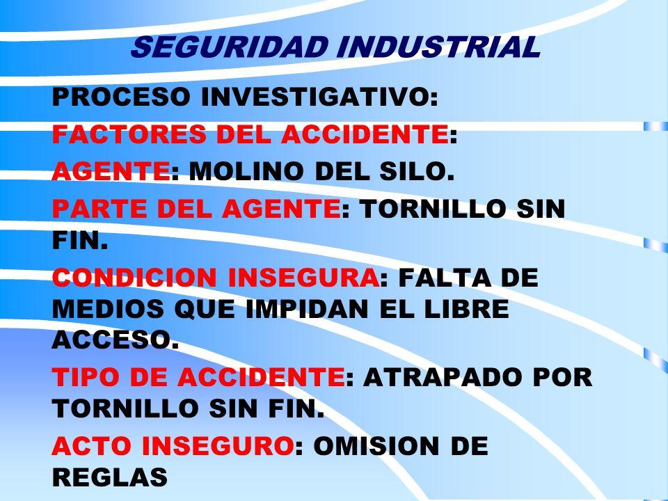 SEGURIDAD INDUSTRIAL PROCESO INVESTIGATIVO: FACTORES DEL ACCIDENTE: AGENTE: MOLINO DEL SILO. PARTE DEL AGENTE: TORNILLO SIN FIN. CONDICION INSEGURA: F