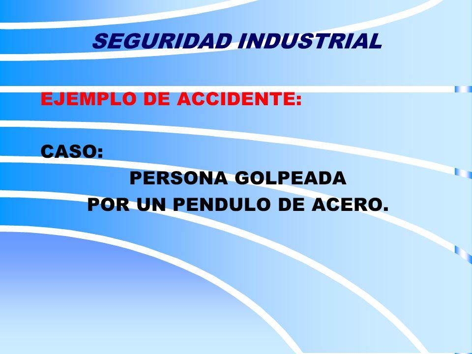 SEGURIDAD INDUSTRIAL EJEMPLO DE ACCIDENTE: CASO: PERSONA GOLPEADA POR UN PENDULO DE ACERO.
