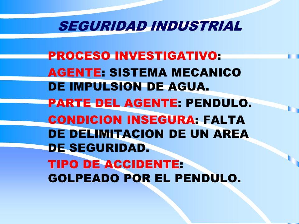 SEGURIDAD INDUSTRIAL PROCESO INVESTIGATIVO: AGENTE: SISTEMA MECANICO DE IMPULSION DE AGUA. PARTE DEL AGENTE: PENDULO. CONDICION INSEGURA: FALTA DE DEL