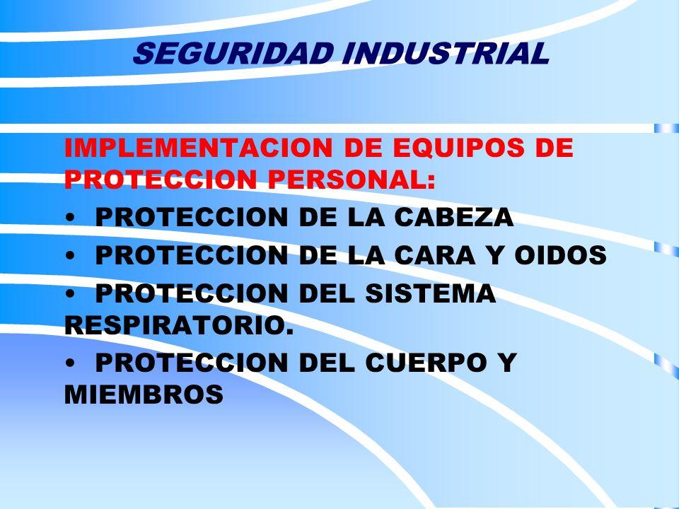 SEGURIDAD INDUSTRIAL IMPLEMENTACION DE EQUIPOS DE PROTECCION PERSONAL: PROTECCION DE LA CABEZA PROTECCION DE LA CARA Y OIDOS PROTECCION DEL SISTEMA RE