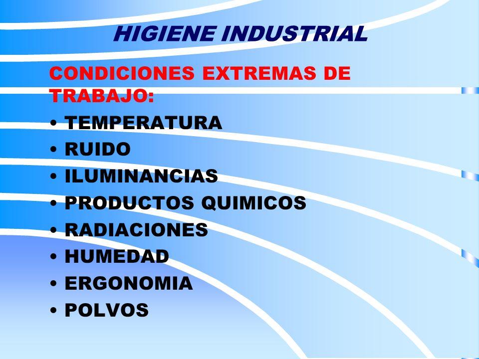 HIGIENE INDUSTRIAL CONDICIONES EXTREMAS DE TRABAJO: TEMPERATURA RUIDO ILUMINANCIAS PRODUCTOS QUIMICOS RADIACIONES HUMEDAD ERGONOMIA POLVOS