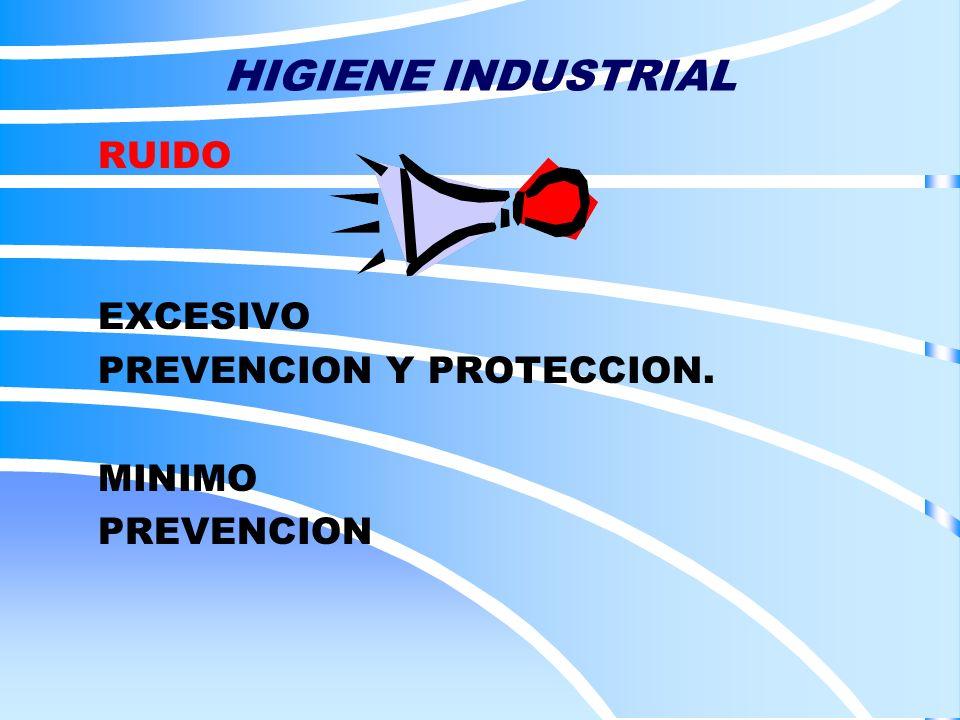 HIGIENE INDUSTRIAL RUIDO EXCESIVO PREVENCION Y PROTECCION. MINIMO PREVENCION