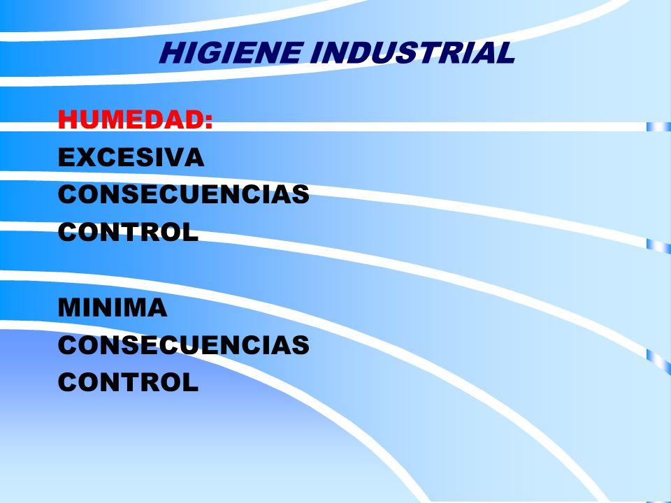 HIGIENE INDUSTRIAL HUMEDAD: EXCESIVA CONSECUENCIAS CONTROL MINIMA CONSECUENCIAS CONTROL