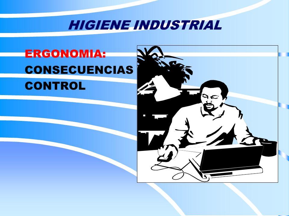 HIGIENE INDUSTRIAL ERGONOMIA: CONSECUENCIAS CONTROL