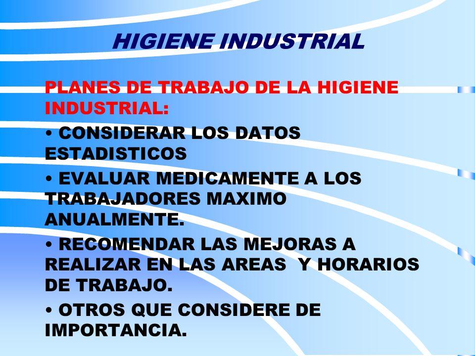 HIGIENE INDUSTRIAL PLANES DE TRABAJO DE LA HIGIENE INDUSTRIAL: CONSIDERAR LOS DATOS ESTADISTICOS EVALUAR MEDICAMENTE A LOS TRABAJADORES MAXIMO ANUALME