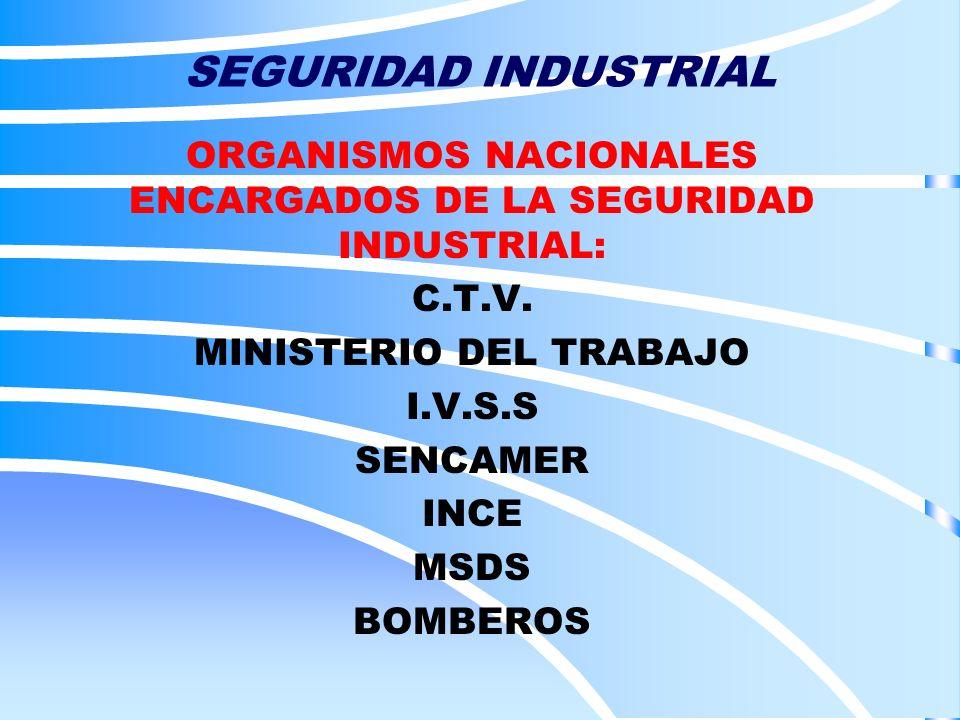 SEGURIDAD INDUSTRIAL ORGANISMOS NACIONALES ENCARGADOS DE LA SEGURIDAD INDUSTRIAL: C.T.V. MINISTERIO DEL TRABAJO I.V.S.S SENCAMER INCE MSDS BOMBEROS