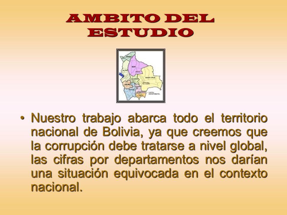AMBITO DEL ESTUDIO Nuestro trabajo abarca todo el territorio nacional de Bolivia, ya que creemos que la corrupción debe tratarse a nivel global, las c