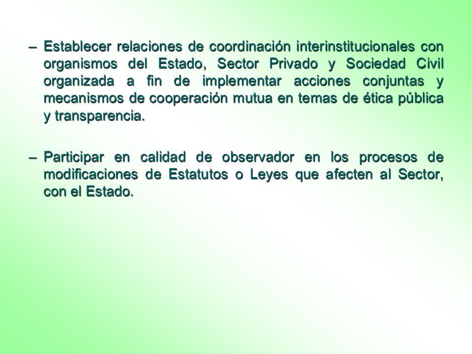 –Establecer relaciones de coordinación interinstitucionales con organismos del Estado, Sector Privado y Sociedad Civil organizada a fin de implementar