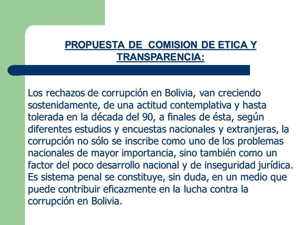 PROPUESTA DE COMISION DE ETICA Y TRANSPARENCIA: Los rechazos de corrupción en Bolivia, van creciendo sostenidamente, de una actitud contemplativa y ha