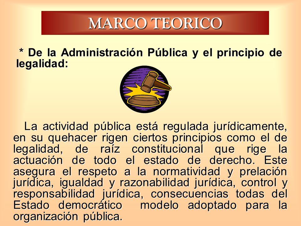 MARCO TEORICO La actividad pública está regulada jurídicamente, en su quehacer rigen ciertos principios como el de legalidad, de raíz constitucional q