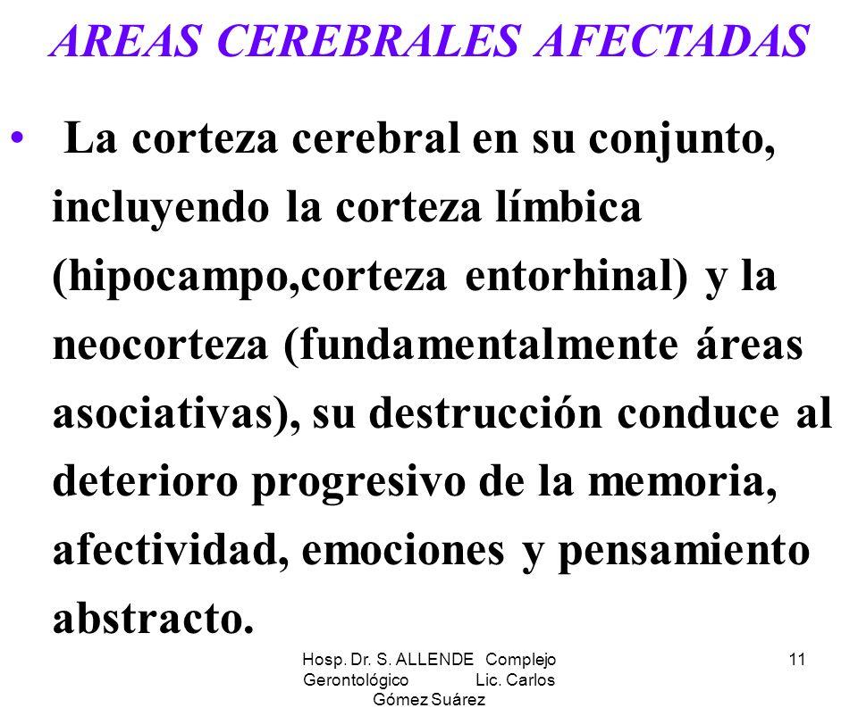 Hosp. Dr. S. ALLENDE Complejo Gerontológico Lic. Carlos Gómez Suárez 11 AREAS CEREBRALES AFECTADAS La corteza cerebral en su conjunto, incluyendo la c