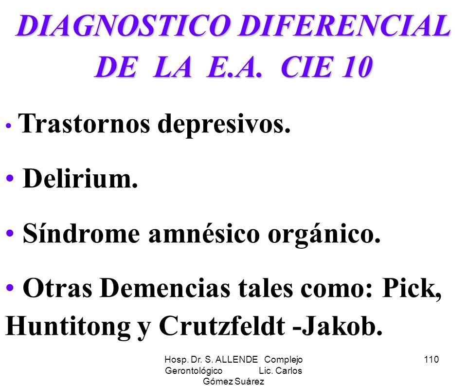Hosp. Dr. S. ALLENDE Complejo Gerontológico Lic. Carlos Gómez Suárez 110 DIAGNOSTICO DIFERENCIAL DE LA E.A. CIE 10 Trastornos depresivos. Delirium. Sí