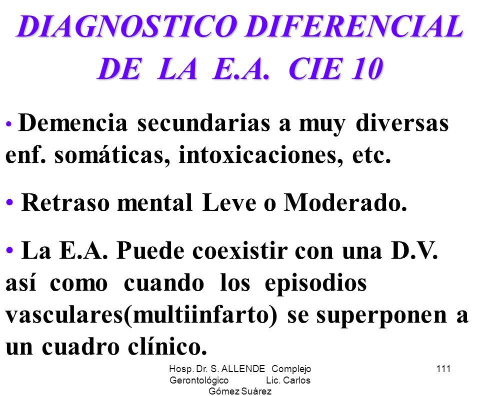 Hosp. Dr. S. ALLENDE Complejo Gerontológico Lic. Carlos Gómez Suárez 111 DIAGNOSTICO DIFERENCIAL DE LA E.A. CIE 10 Demencia secundarias a muy diversas