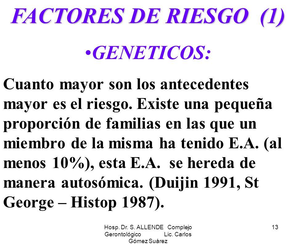 Hosp. Dr. S. ALLENDE Complejo Gerontológico Lic. Carlos Gómez Suárez 13 FACTORES DE RIESGO (1) GENETICOS: Cuanto mayor son los antecedentes mayor es e
