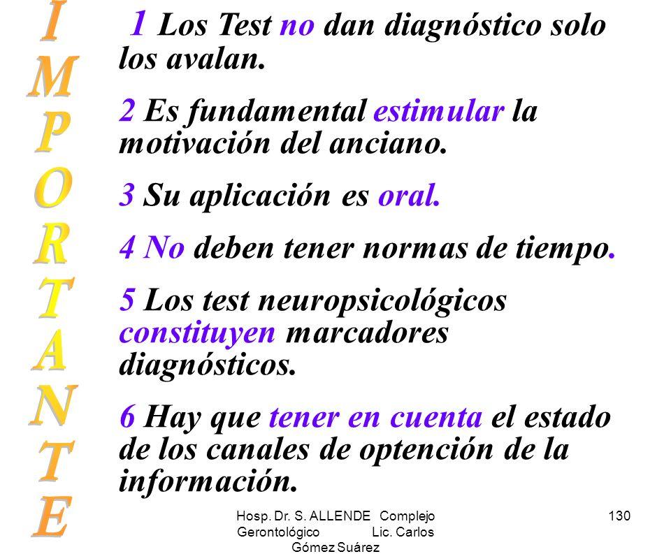 Hosp. Dr. S. ALLENDE Complejo Gerontológico Lic. Carlos Gómez Suárez 130 1 Los Test no dan diagnóstico solo los avalan. 2 Es fundamental estimular la