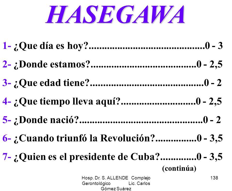 Hosp. Dr. S. ALLENDE Complejo Gerontológico Lic. Carlos Gómez Suárez 138HASEGAWA 1- ¿Que día es hoy?.............................................0 - 3