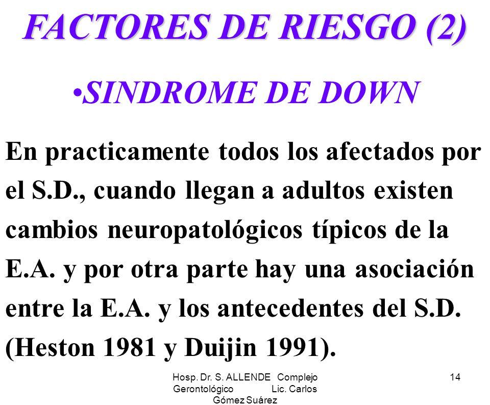 Hosp. Dr. S. ALLENDE Complejo Gerontológico Lic. Carlos Gómez Suárez 14 FACTORES DE RIESGO (2) SINDROME DE DOWN En practicamente todos los afectados p