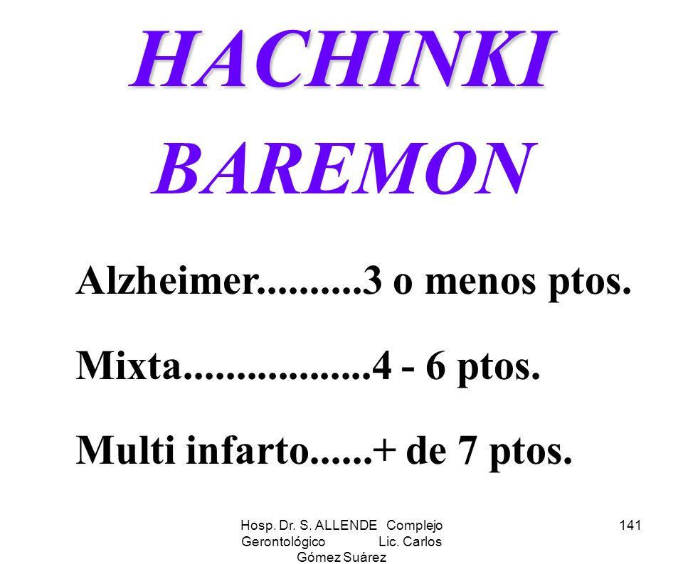 Hosp. Dr. S. ALLENDE Complejo Gerontológico Lic. Carlos Gómez Suárez 141HACHINKI BAREMON Alzheimer..........3 o menos ptos. Mixta..................4 -